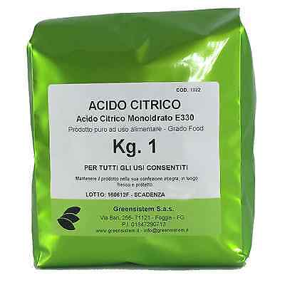 ACIDO CITRICO KG. 1 - MONOIDRATO - E330 - PER QUALSIASI USO - DISINCROSTANTE