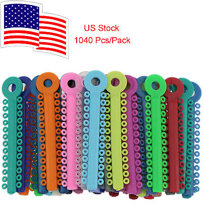1040 Pcspack Dental Orthodontic Ligature Ties Mixed Color Elastic Us Stock