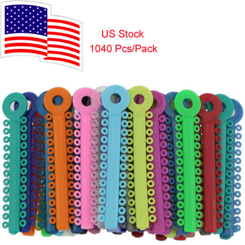1040 Pcs/Pack Dental Orthodontic Ligature Ties Mixed Color Elastic US Stock