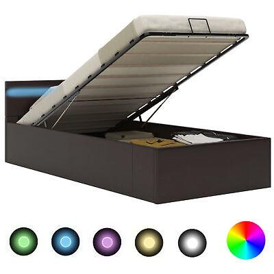 Stauraumbett Hydraulisch mit LED Licht Grau 90x200cm Kunstleder Bett Polsterbett