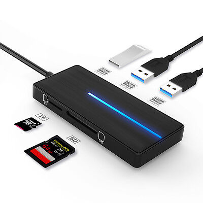 Ultra Slim 4-Port 3 USB 3.0 2.0 Hub Adapter Charger Station TF SD Card Reader