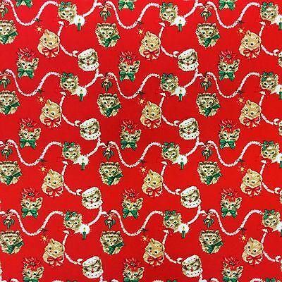MM115 Retro Christmas Kitty Cat Kitten Mistletoe Poinsettia Cotton Quilt Fabric (Retro Kitty Cat)