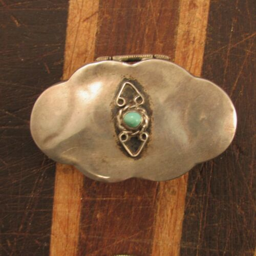 VINTAGE  MEXICAN  STERLING  SCALLOPED  PILL  BOX  WITH TURQUOISE--NEW  PRICE--