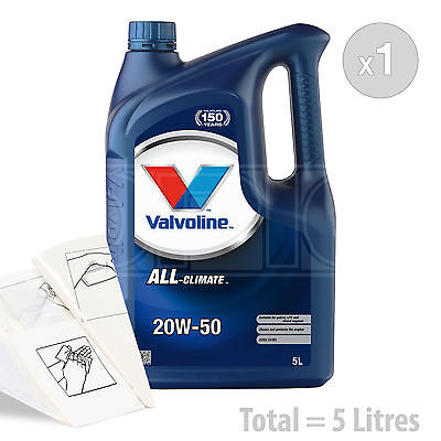 Car Engine Oil Service Kit  Pack 5 LITRES Valvoline All Climate 20w 50 5L