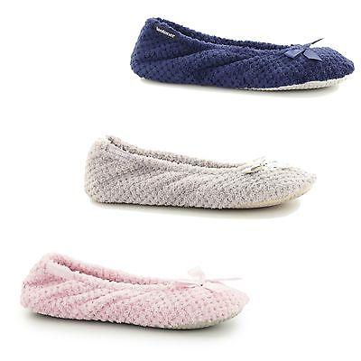 Isotoner Tote (Totes Isotoner POPCORN Ladies Classic Slip On Comfortable Bow Ballerina Slippers)