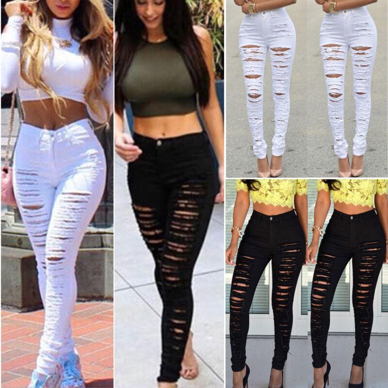 Women Ripped Jeans Skinny Denim Pencil Pants High Waist Stre