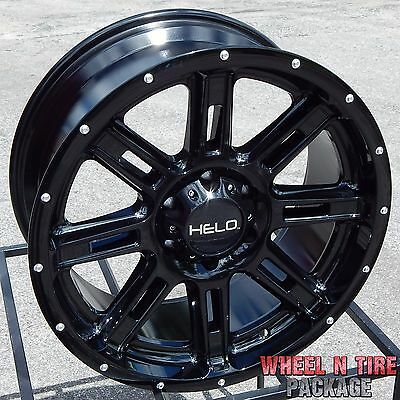 20x9 BLACK HELO HE900 WHEELS RIMS CHEVY SILVERADO SIERRA HD RAM 2500 3500 DIESEL
