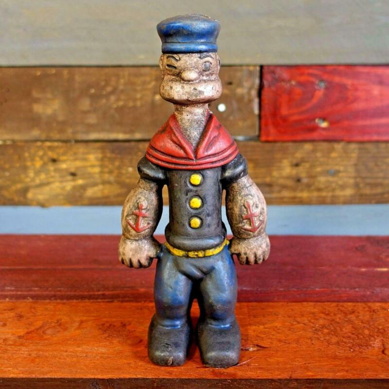 "Popeye Sailor Man 9"" Cast Iron Toy Bank Figurine Painted Antique Finish"