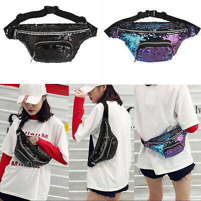 Party Fanny Pack (Womens Sequin Fanny Pack Glitter Waist Bag PU Chest Shoulder Pouch Fashion)