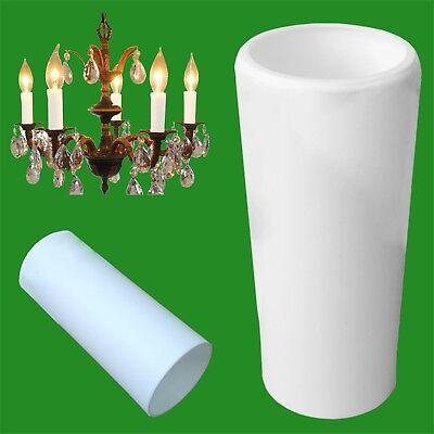 10 Licht Kronleuchter (10 X Weiß Kronleuchter Uni Kerze Ärmel Licht Birnen Tube Abdeckungen 85mm X 23mm)