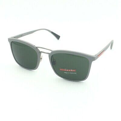 Prada SPS 03S VHH-1I0 Square Matte Gray Sunglasses W/ Green Lens (Prada Square Sunglasses)