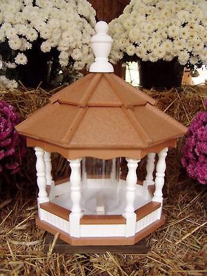 Poly Bird Feeder Amish Gazebo Handcrafted Homemade Cedar & White