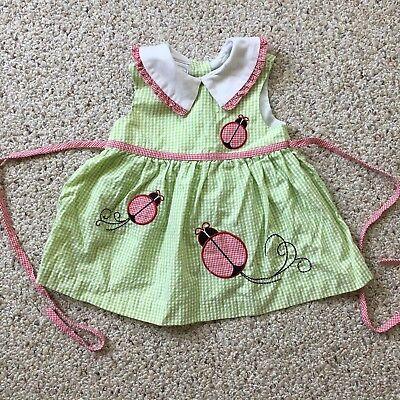 Little Girl Infant Gingham Ladybug Dress Green Sleeveless