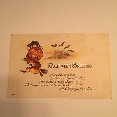 1908 VINTAGE EMBOSSED BATS - 3 WITCHES RIDING BROOMS - HALLOWEEN POSTCARD