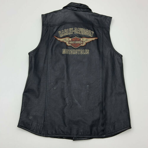 Harley Davidson Leather Vest Mens Large Embroidered Sleeveless Motorcycle Casual