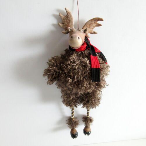 Christmas MOOSE Ornament Sitting Hanging OOAK Hinch Designs 14 inch
