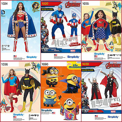 New Simplicity Sewing Pattern Super Hero Halloween Costume BatGirl Super + UPick - Halloween Costumes Patterns