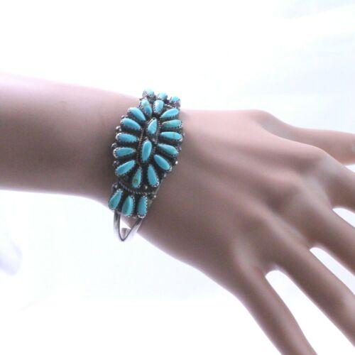 P. Jones Sterling Silver Turquoise Petit Point Cluster Cuff Bracelet