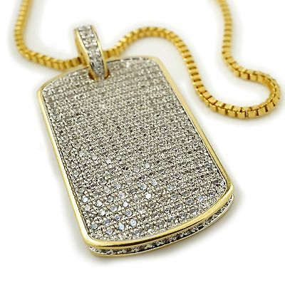 18K Gold Plated Iced Out CZ Dog Tag Stainless Steel Box Chain Pendant Necklace (Gold Dog Tag Necklace)