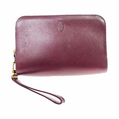Cartier mast line leather handbag Bordeaux Used (5-140