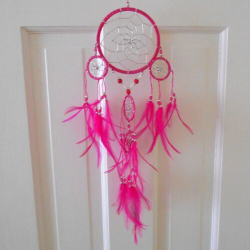 Dream Catcher Feather Wall Home Decor Hot Pink EUC Native American Tradition
