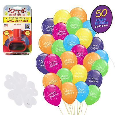 QP Latex Happy Birthday Balloons, 50 Pack. w/ Balloon Tying Tool and More