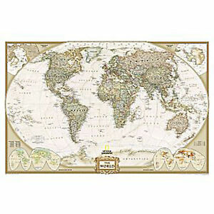 WORLD-Wall-Map-Art-Print-Executive-National-Geographic-46-x30-LAMINATED-2014
