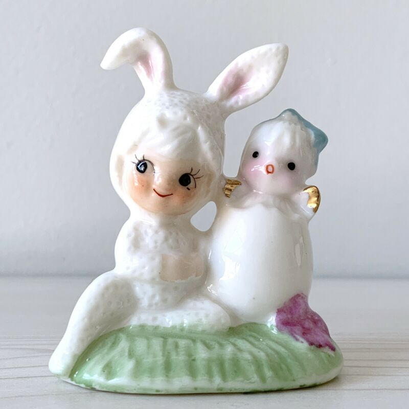 Vintage Relpo Pixie Bunny With Chick Figure