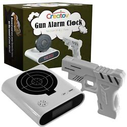 Target Alarm Clock With Gun, Infrared Laser and Realistic Sound Effects