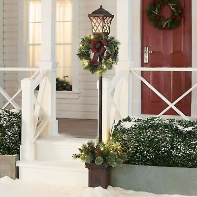 6' Pre-Lit Christmas Planter Lighted Lamp Post Outdoor Decoration Lighted Yard