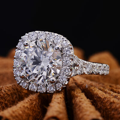 2.60 Ct Round Cut Cushion Halo Split Shank Diamond Engagement Ring I VS1 GIA 2