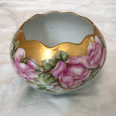 Antique Bavaria  Hand Painted Porcelain Rose Bowl Vase Roses ~ Large ~