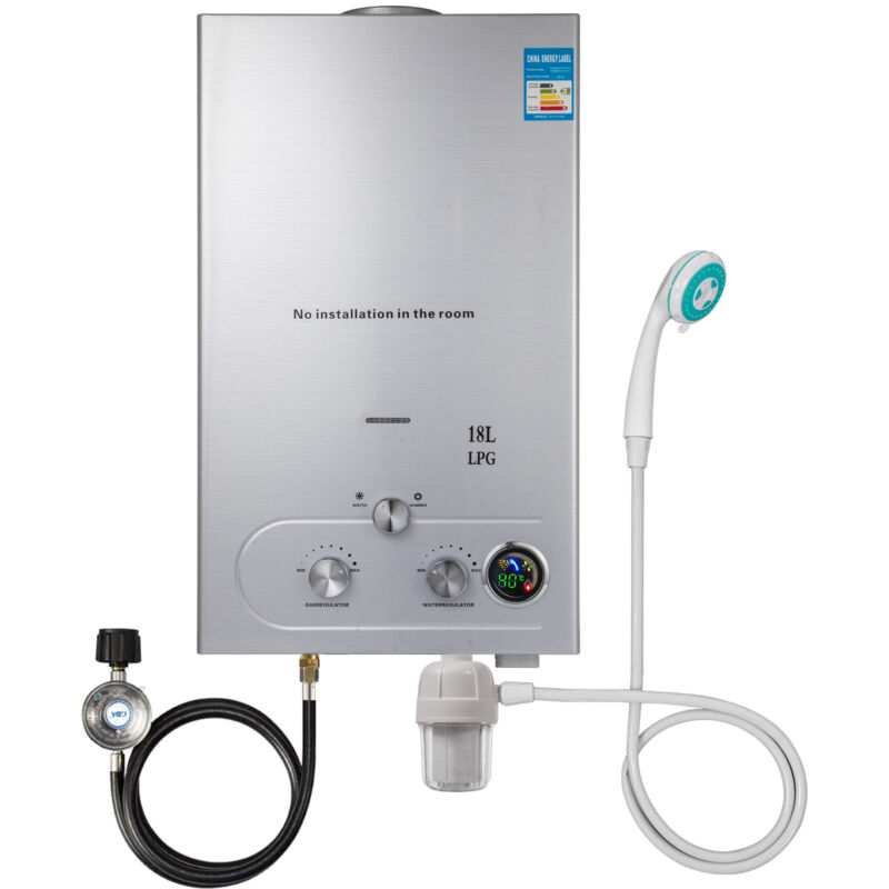 18L 5GPM Hot Water Heater Upgrade Type Propane Gas Instant Boiler W/ Shower Kit