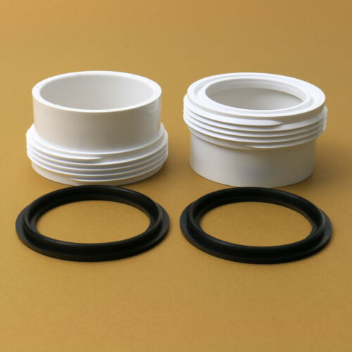 """Two 2 Spa Hot Tub HEATER Tailpieces PVC Fittings 3"""" Threads for 2"""" pipe Gaskets"""