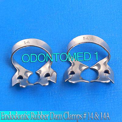 2 Endodontic Rubber Dam Clamps 14 14a Molars Dental Instruments