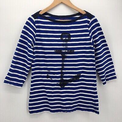 Hatley Womens Breton TShirt Blue White Large Striped Nautical Anchor 3/4 Sleeves - Hatley Blue Stripes