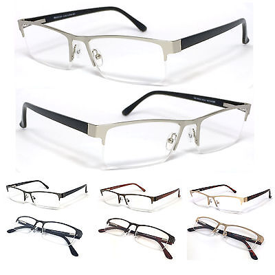 Mens Womens Reader Metal Frame Semi Rimless Spring Temple Reading Glasses - (Mens Semi Rimless Frames)
