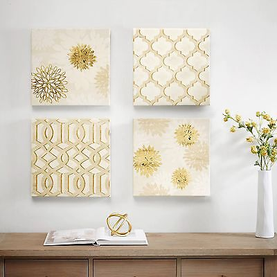 Abstract Wall Art White With Gold Foil Gilded Canvas 4 Piece Set Home Decor New ()