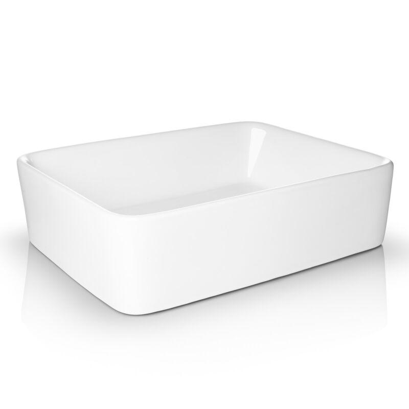 Modern Ceramic Vessel Sink - Bathroom Vanity Bowl - Rectangular White