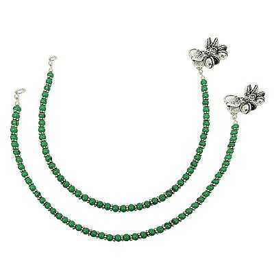 Silver Plated Oxidized Bead Anklet Women Party Indian Fashion Jewelry ASA286A