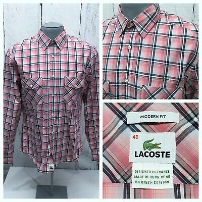 LACOSTE SIZE 40  M MEDIUM CASUAL LONG SLEEVE SHIRT PINK GRAY BLACK MODERN FIT