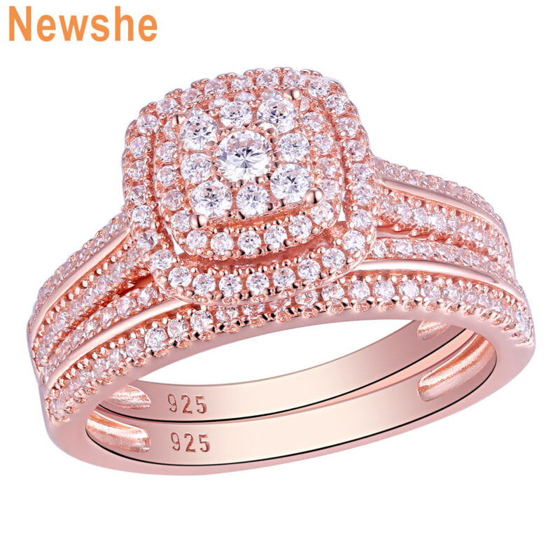 Newshe Wedding Engagement Ring Set 1.6ct Rose Gold 925 Sterling Silver Cz 5-12