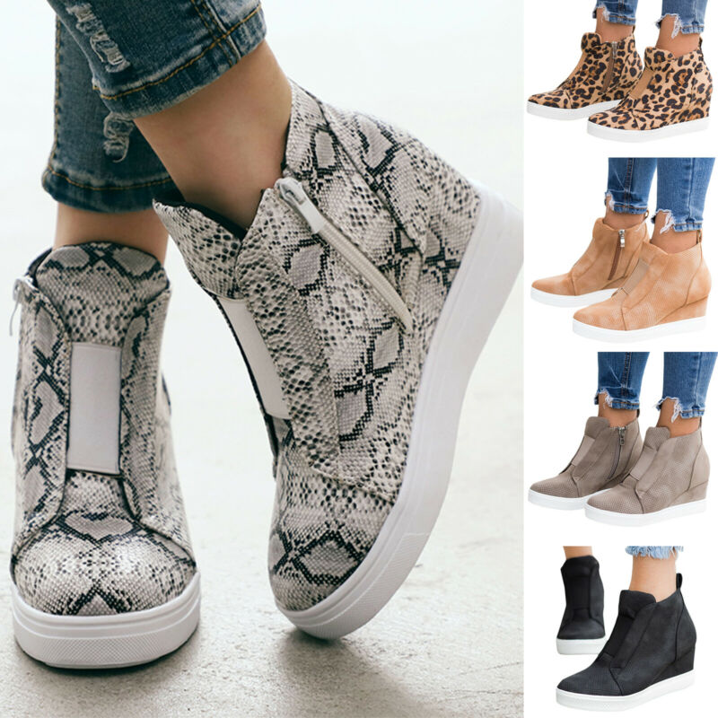 Women Round Toe Wedge Heels Ankle Boots Booties Sneakers Tra
