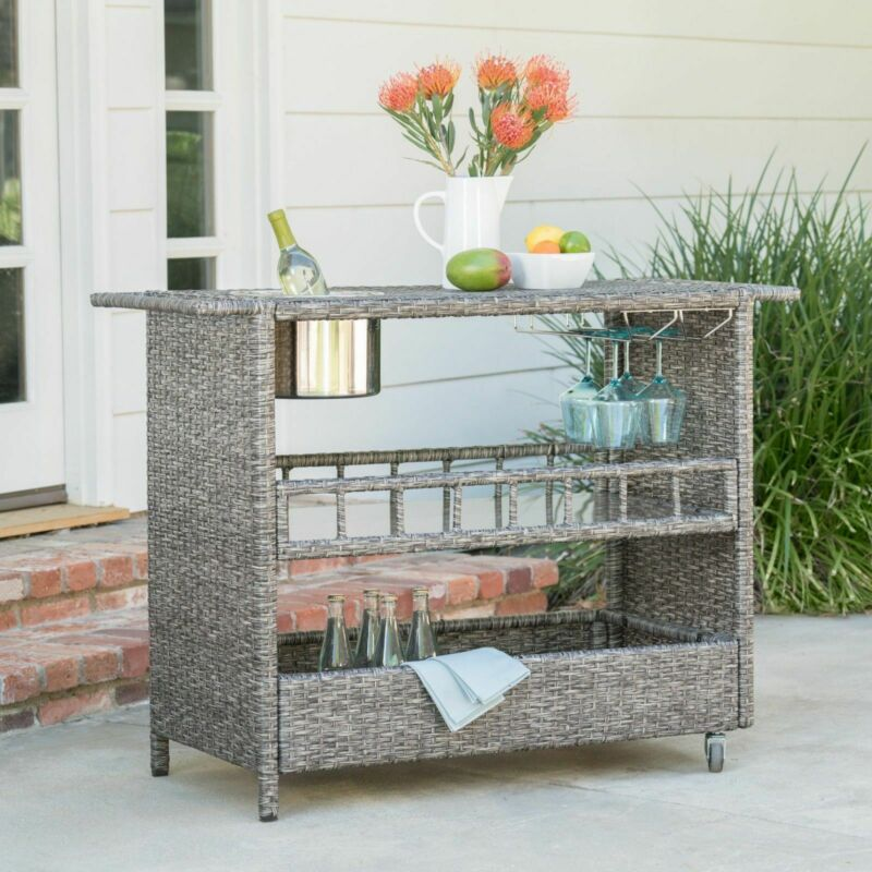 Waikiki Outdoor Fine Crafted Mixed Black Wicker Bar Serving Cart