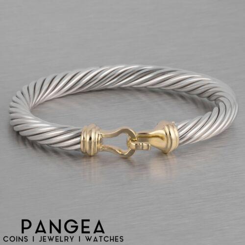 David Yurman 925 Silver & 14k Gold Cable Classic Buckle Bracelet 7mm MEDIUM SIZE