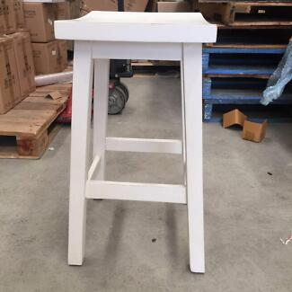 Mango wood white Kitchen Stool with small crack Lidcombe Auburn Area Preview
