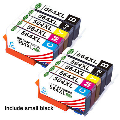 10PK +Chip For HP Printer 564XL 564 Ink Cartridge Photosmart 6510 6520 7510 7520
