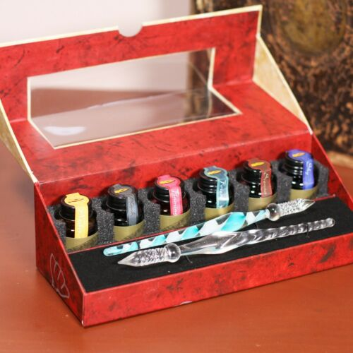 Calligraphy Handwriting Glass Dip Pen Set With Ink