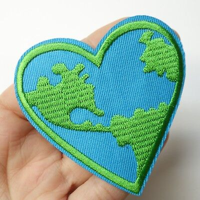 Earth Day Planet Heart Love, Ecology, Recycle Patch Iron-On/Sew-On