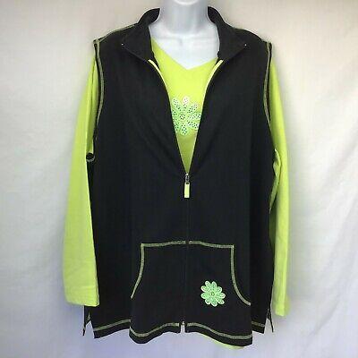 QUACKER FACTORY Womens Twin Set Green Black Vest Full Zip Flower Embellished  1X Vest Twin Set